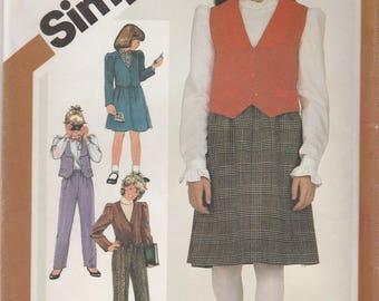 Girls' Jacket, Vest, Skirt & Pants Pattern Simplicity 6090 Size 7 Uncut