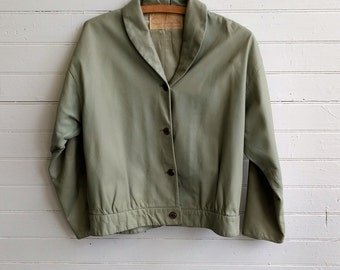 Vintage pistachio green leather jacket, 1960s leather jacket, small