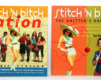 Stitch 'N Bitch Books, Set of 2 Paperback Books, Debbie Stoller, Stitch 'N Bitch Nation, First Editions, Knitting Books, Knitting Patterns,