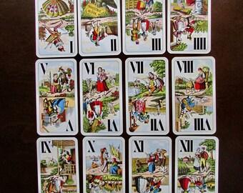 Tarot Cards Vintage Piatnik Tarock Divination Fortune Telling Cards Industrie und Glück (Rural Scenes)