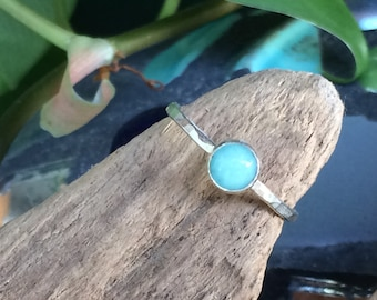Amazonite Ring, Sterling Silver Stacker