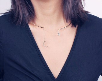 Gold open moon and teardrop dangle choker - Neck cuff - neck choker - metal collar choker necklace