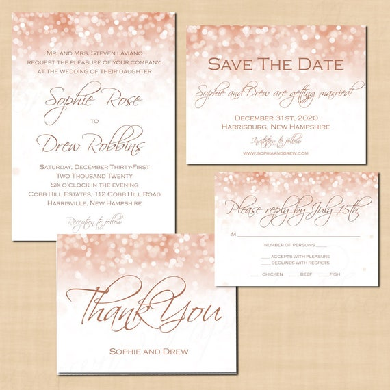 rose gold sparkles invitations save the date rsvp thank you