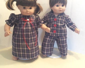 "American Girl 15"" Doll Clothing - Bitty Twins Red, Green and Blue Cotton Plaid Pj's For Boy and for Girl"
