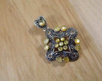 Sterling Silver, Marcasite and Yellow Moonstone Pendant / Vintage Heart & Victorian Style Slide Pendant Necklace