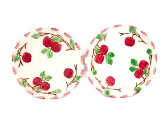 Vintage Autumn Apple Luncheon Plates Blue Ridge Southern Pottery Set of 2 Red Fruit Colonial