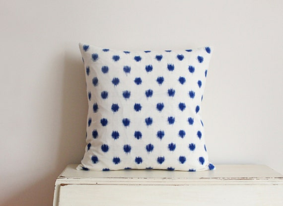 "SALE - Limited edition ikat spot pillow cushion cover 20"" x 20"" in denim blue"