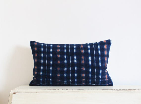 "Vintage indigo shibori African mudcloth pillow cushion cover 12"" x 20"""
