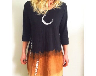 Dipped Dyed Crescent Moon/ Moon Cycle Dress