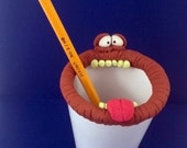 Monster Pencil Holder, Hand Made OOAK Original Polymer Clay Figurine