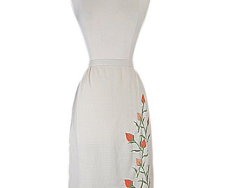 60s Cream Straight Skirt With Embroidered Tulips - sm