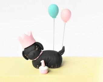Puppy cake topper - Fondant puppy with crown - Fondant puppy birthday - Fondant Balloons - Fondant Crowns - Fondant Dog Cake Topper
