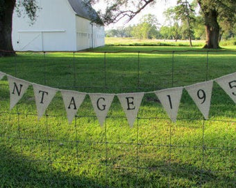 Adult Birthday Burlap Banner, Custom Birthday Burlap Banner, Birthday Year Banner, Over the Hill, Birthday Garland, Pennant