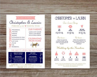 LIMITED TIME SALE Infographic Wedding Program, wedding program, printable wedding program, infographic program, unique wedding program