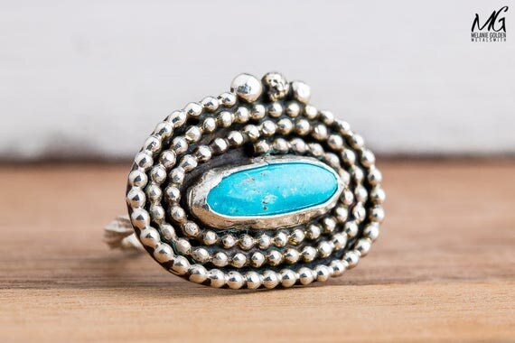 Blue Bird Turquoise Gemstone Ring in Sterling Silver with Wrapped Beaded Border