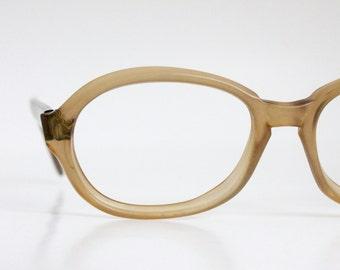 Vintage 60's Pale Olive Oval Eyeglasses