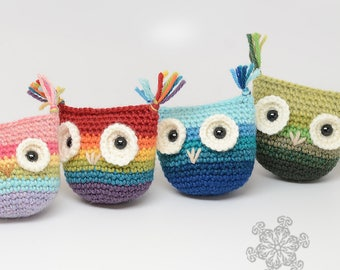 Rainbow Owl Crochet Toy - Choose Your Colors - Baby Toy - Toy For Child