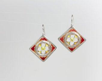 Kismet Red Enameled Earrings