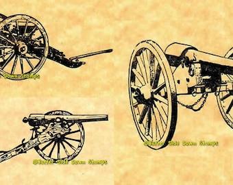 Civil War Cannon Set of 3 Rubber Stamps  Parrott Gun, Napoleon Cannon