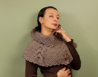 Knit Poncho, Cape, Cape Coat, Knit Cowl, Shawl Poncho, Camel Knit Sweater, Cape Shawl, Collar Scarf, Chunky Scarf, Shoulder Wrap Cable Knit
