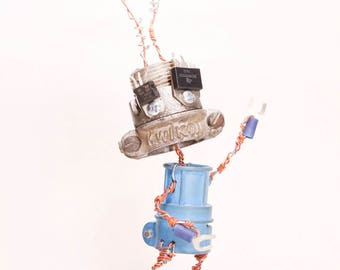 Azzurro, Bot Number: 2017782. Found Object Robot Sculpture. Recycled Electrical Conduit. Junk Art. Lee Bots