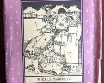 "1980's Folkwear Huichol Wardrobe, Tunic, Pants, Skirt, Top, Tabard pattern - Bust 30.5-38"" - UC/FF - No. 125"