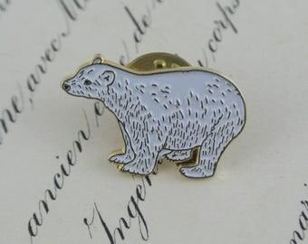 White Polar Bear Pin   Cute Animal Brooch   Vintage Metal Lapel Badge