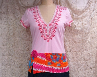 Medium T-shirt Recycled Boho Repurposed Hippie Altered Clothing Eco Wear