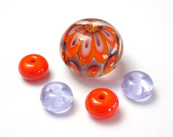 Lampwork Glass Pod Set in Orange and Purple