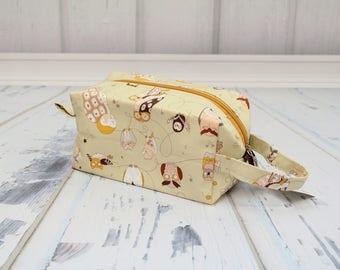 Owls fabric Small boxy bag, Knitting Boxy Project Bag, Box Bag, Knitting Project Bag. Sock Knitting bag. Crochet bag,zippered box bag