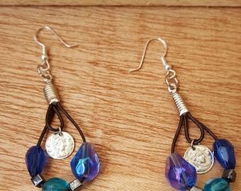 Leather Earrings - Silver Coin Earrings - Mermaid Blue Earrings - Ocean Inspired Earrings - gifts for a bride - something blue