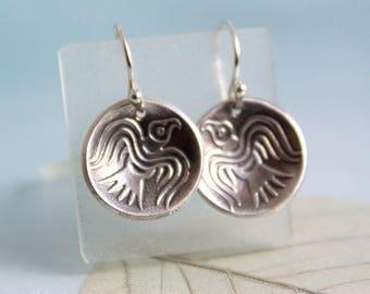 Odin's Ravens Earrings. Domed Silver Dangles on Sleeper Hoops