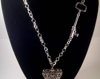 Heart Necklace, Key Necklace, Heart & Key Necklace, Silver Necklace, Silver Key Jewelry, Best Selling Jewelry, Christmas Gift Ideas