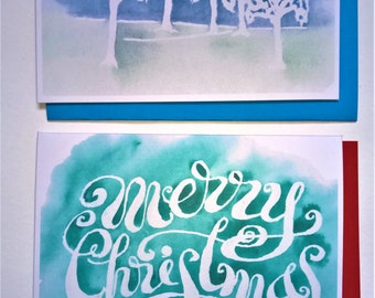 Digital Download Printable Two Christmas Cards: Green Merry Christmas and Green Blue Winter Trees
