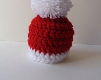 Ready to Ship Newborn Santa Hat Christmas Hat Knit Hat Elf Hat Red Hat Baby Boy Baby Girl Photo prop
