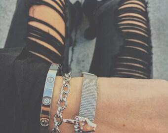 Rose Gold & Silver Stainless Steel Middle Finger Charm Bracelet Fuck Bracelet FU Bracelet Gift for Hey Birthday Gift