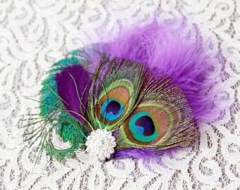 Peacock Feather Hair Clip - Wedding Fascinator - Bridal Hair Clip - Purple Feather Headpiece - Vintage Inspired Wedding Hair Accessory