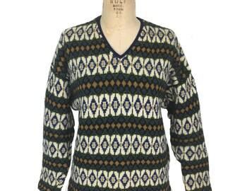 vintage 1960s Icelandic sweater / Jersey Modeller / wool / Hans Heitsch / ski sweater / vintage sweater / size large