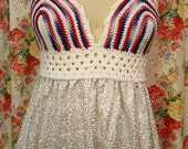 Red White & Blue Crocheted Bikini Top with Sparkle Flounce by VLA Designs -30B thru 36C Bralette Bikini Festival Goddess Hippie Bohemian