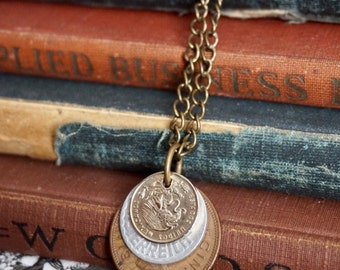 Coin Jewelry, Coin Necklace, Unisex Jewelry, Mens Necklace, Unisex Jewelry, Steampunk Jewelry, Unisex Necklace, Vintage Style, Coin Pendant