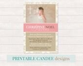 Elegant Baptism Invitation - Pink Christening Invitation - Girl Baptism - Girl Christening - Printable Baptism - Printable Christening