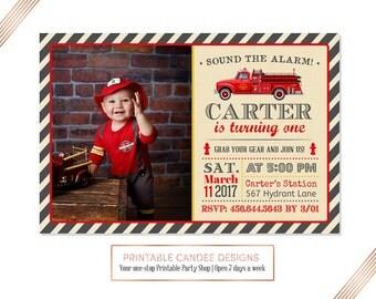 Fire Truck Invitation, Fire Truck Birthday Invitation, Firetruck Invite, Fire Engine Invitation, Firefighter Party