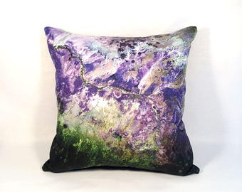 ON SALE: NEW - Arizona Ecosystems Pillow Cover - Satellite Image on Fabric; amythest purple green white; Arizona geology; Usgs Nasa Landsat