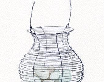Kitchen art decor, basket with eggs, watercolor original illustration