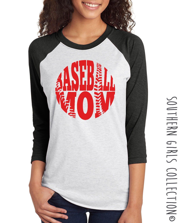 Baseball mom raglan shirt t ball mom shirt base ball for Custom baseball tee shirts
