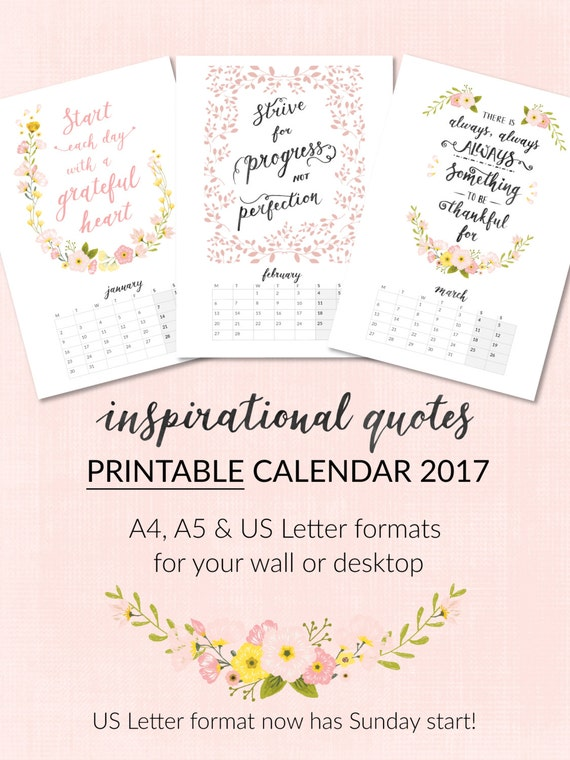 NOW 25% OFF Printable Calendar 2017 Inspirational Quotes