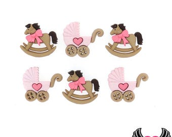 Jesse James Buttons 6 pc Horse & Buggy Baby Girl Buttons OR Turn them Into Flatback Decoden Cabochons (#240) Pink Rocking Horse and Carriage