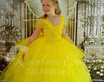Belle,Beauty and the Beast Princess Belle, yellow tutu dress, Birthday Theme, Halloween Costume girls Tutu Dress  sizes 12M - girls 8
