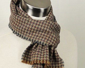 Plaid Wool Scarf  - Rust, Gold, Grey Plaid Woven Wool Scarf - Brown Plaid Scarf .