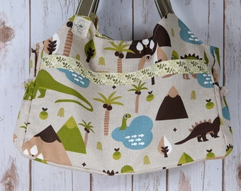 Dinosaur and prehistoric lands shoulder bag. Baby changing handbag. Nappy diaper bag,  Mum to be baby shower gift. New baby present